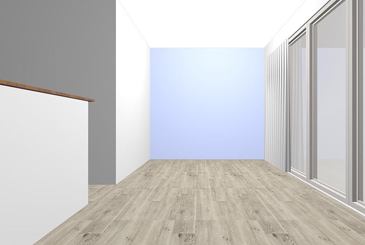 グレーの床と薄いブルーの壁紙クロス