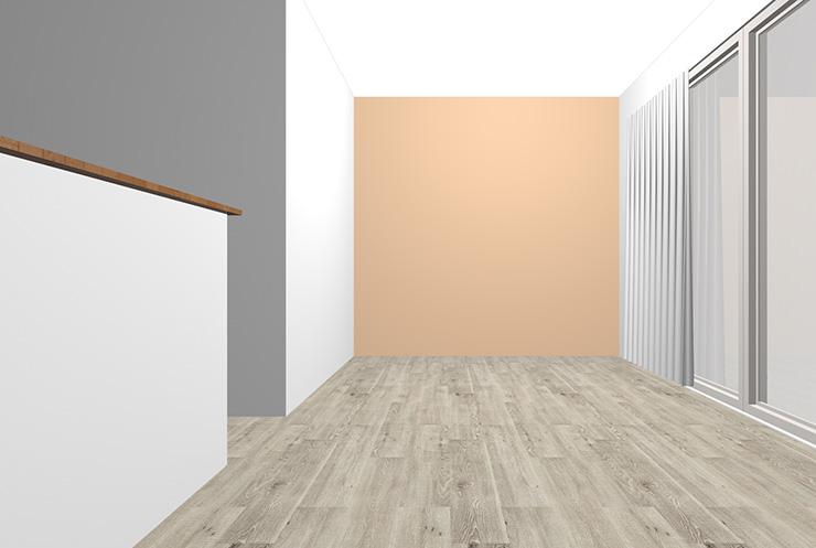 グレーの床とベージュの壁紙クロス