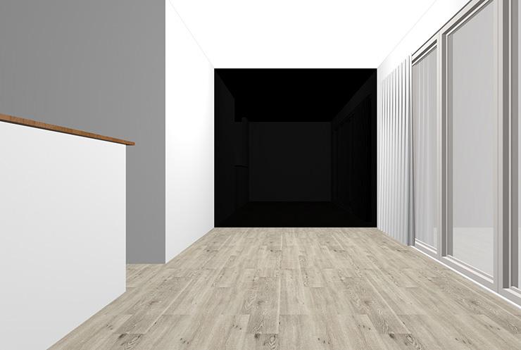グレーの床と黒の壁紙クロス