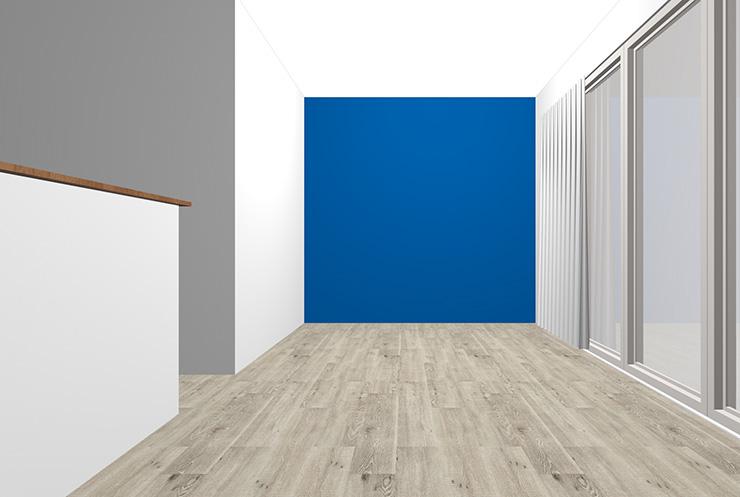 グレーの床とブルーの壁紙クロス
