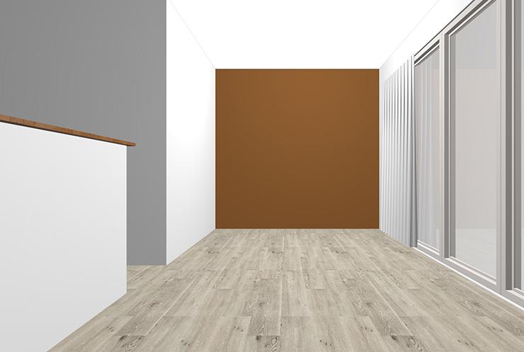 グレーの床と茶色の壁紙クロス