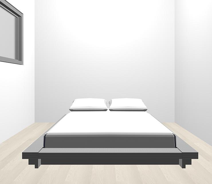 グレーの床とグレーのベッド
