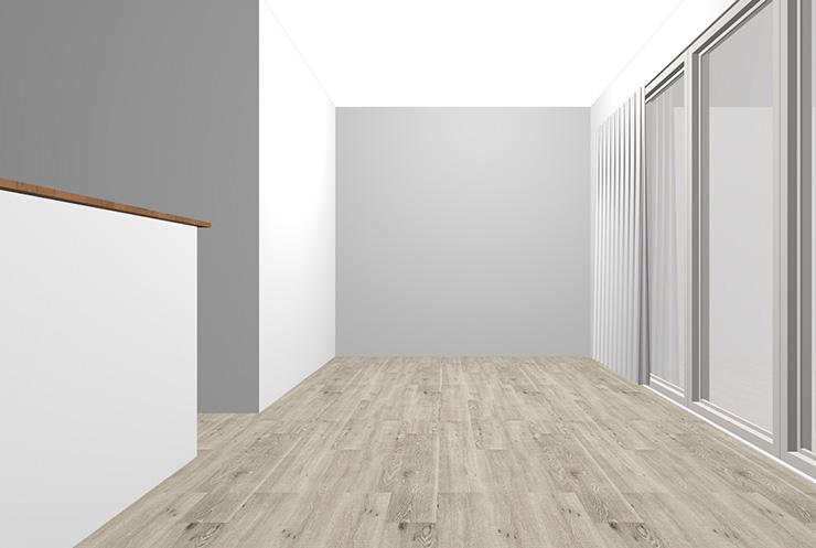 グレーの床とグレーの壁紙クロス