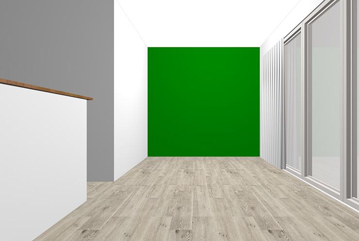グレーの床とグリーンの壁紙クロス
