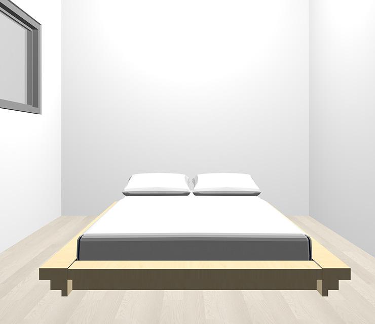 グレーの床と薄い・明るい茶色のベッド