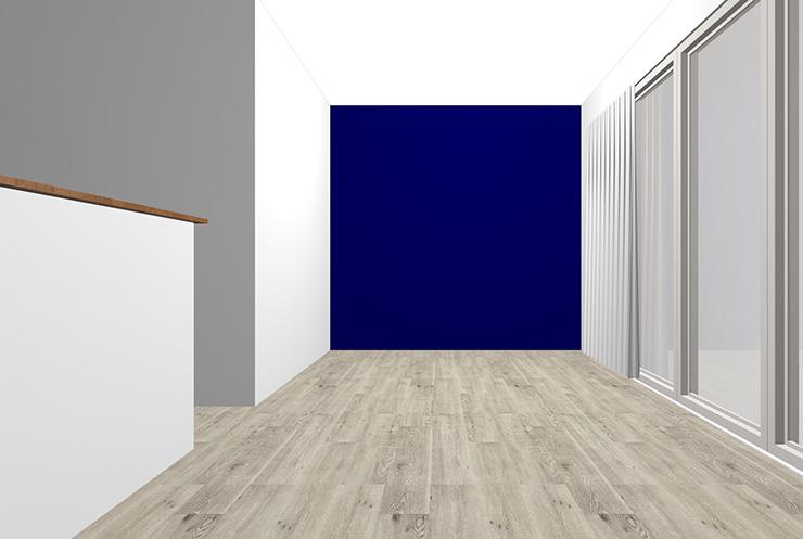 グレーの床と濃い・暗いブルーの壁紙クロス