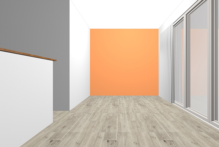 グレーの床とオレンジの壁紙クロス
