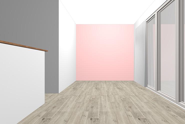 グレーの床とピンクの壁紙クロス