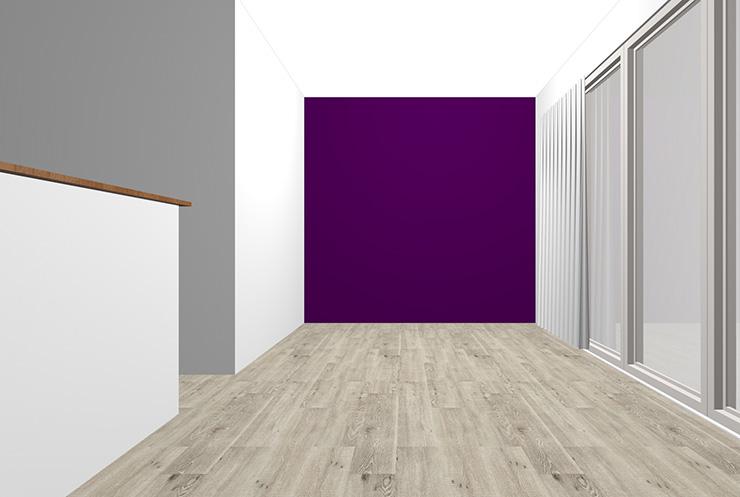 グレーの床とパープルの壁紙クロス