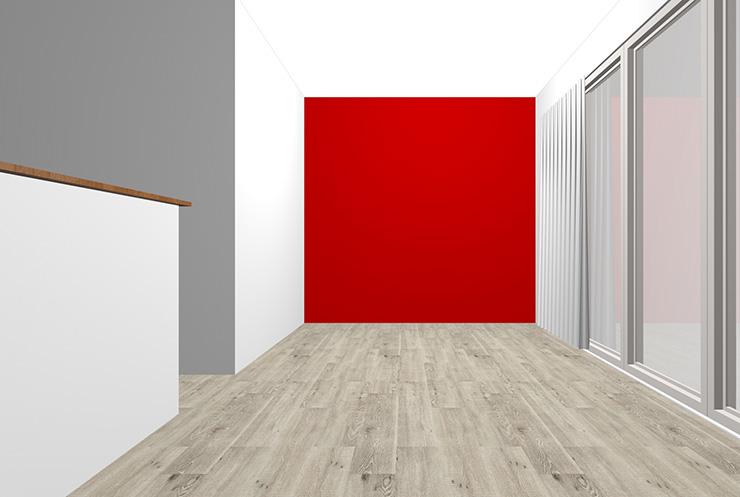グレーの床と赤の壁紙クロス