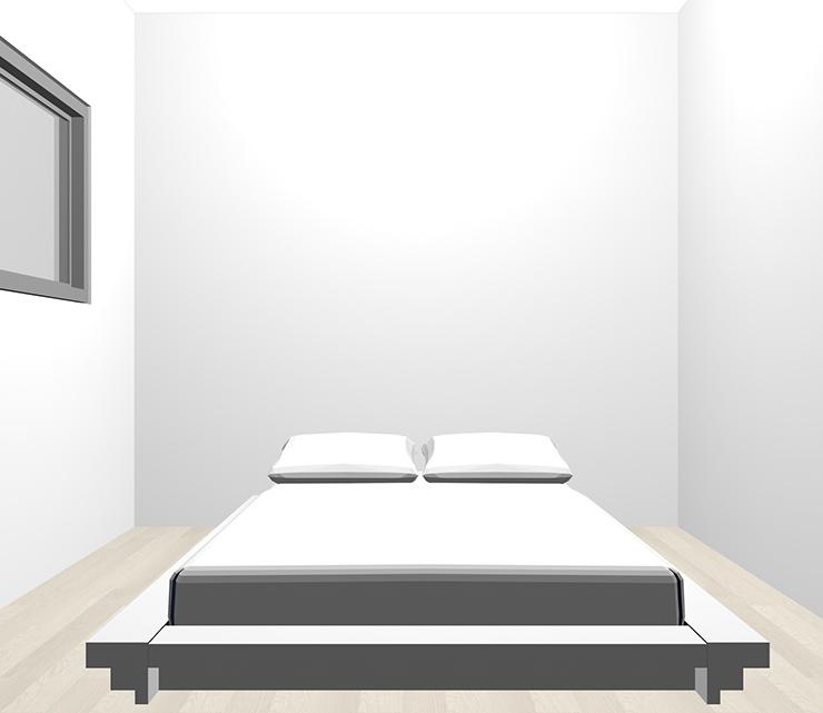 グレーの床とホワイトのベッド