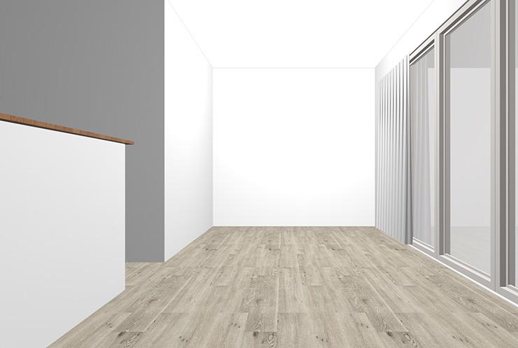 グレーの床とホワイトの壁紙クロス