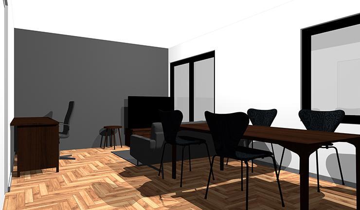 茶色のヘリンボーン床と暗いグレー
