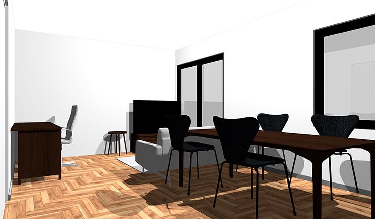 茶色のヘリンボーン床と明るいグレー