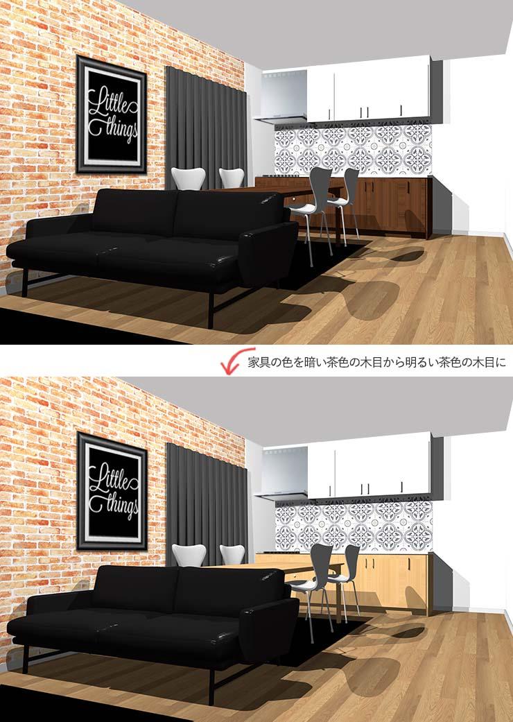 薄い茶色の木目家具のインダストリアルインテリア