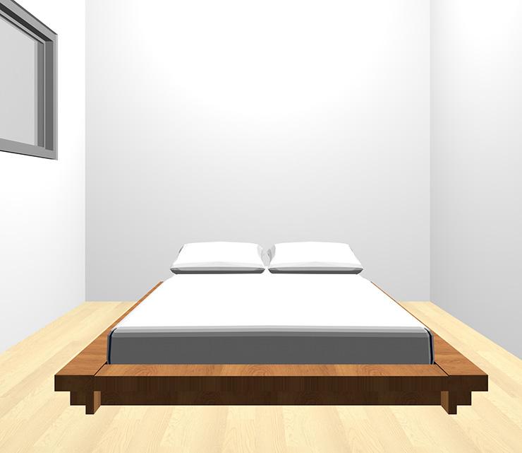 薄い・明るい茶色の床と茶色のベッド