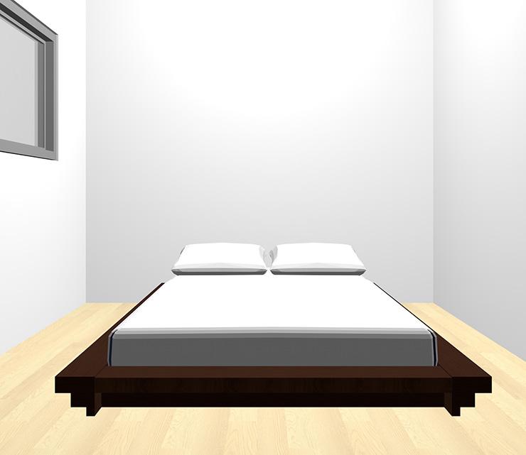 薄い・明るい茶色の床と暗い茶色のベッド