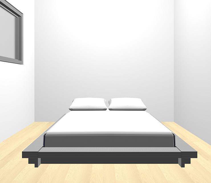 薄い・明るい茶色の床とグレーのベッド
