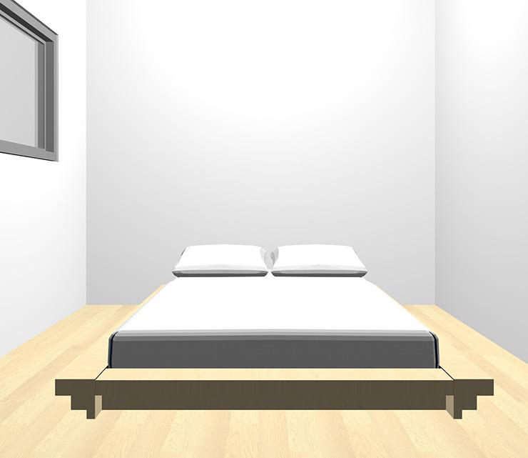 薄い・明るい茶色の床と薄い・明るい茶色のベッド
