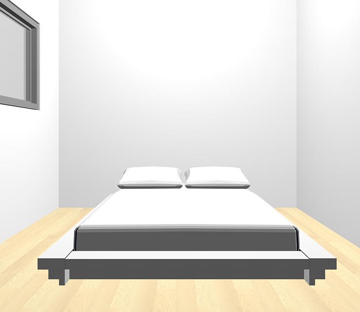 薄い・明るい茶色の床とホワイトのベッド