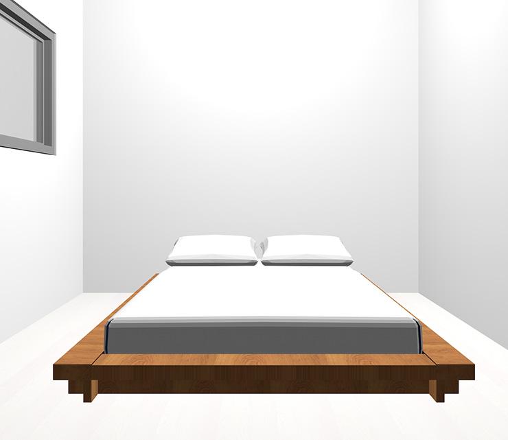 ホワイトの床と茶色のベッド