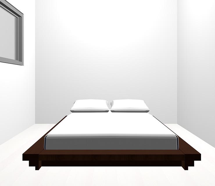 ホワイトの床と暗い茶色のベッド
