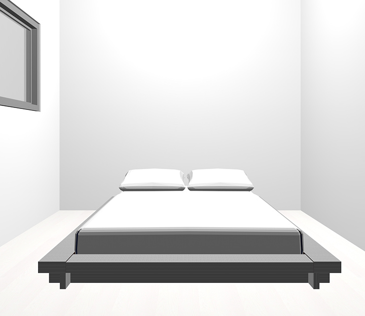 ホワイトの床とグレーのベッド