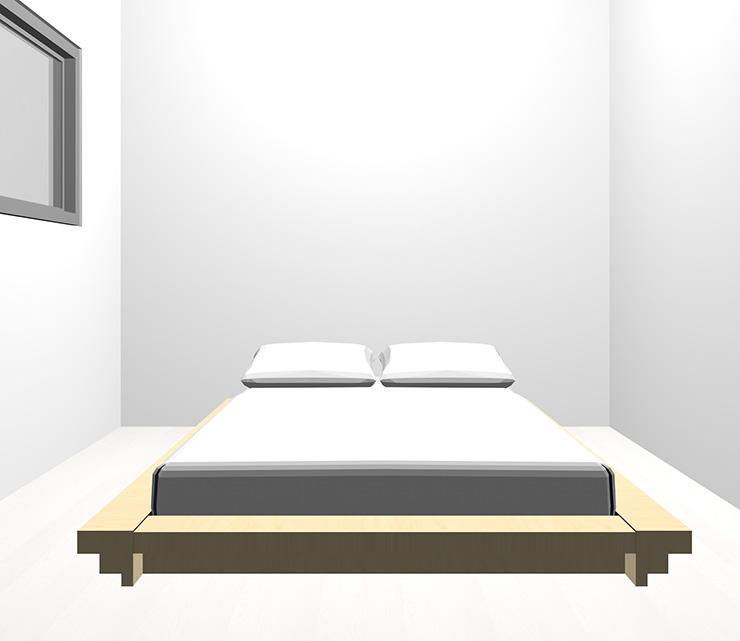 ホワイトの床と薄い・明るい茶色のベッド