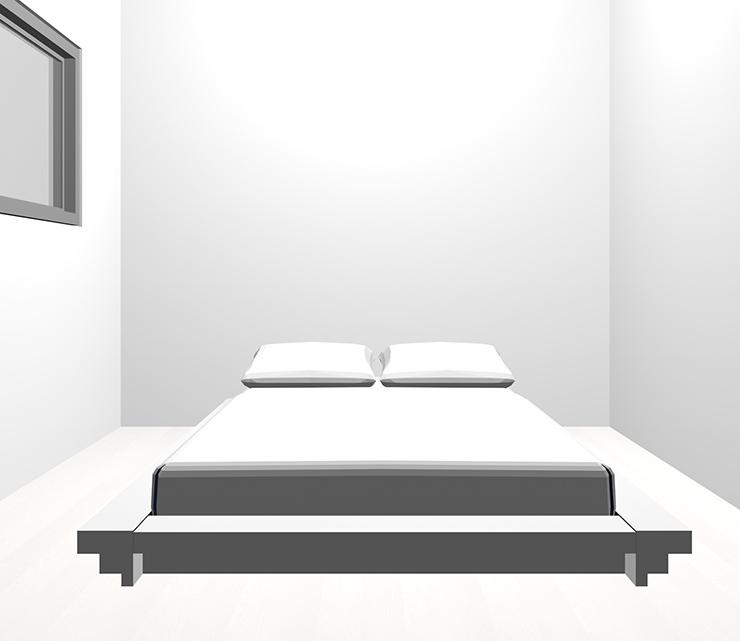 ホワイトの床とホワイトのベッド