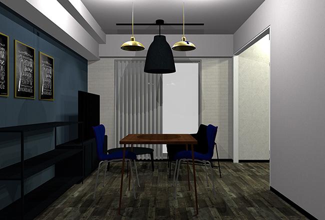 暗い青とグレーのヴィンテージな部屋