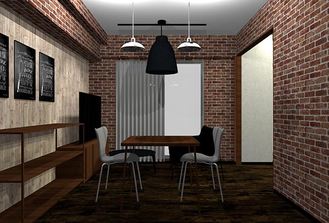 暗い茶色の床と茶色レンガ壁・グレーヴィンテージ木目壁の部屋