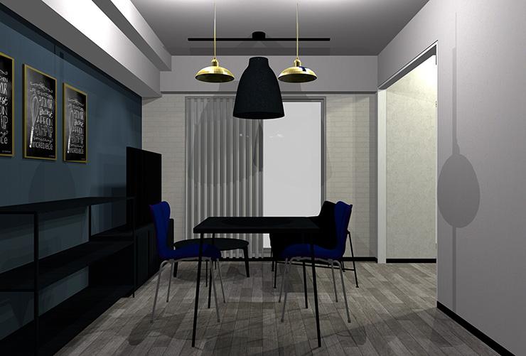 少し明るいグレーの床と黒の家具