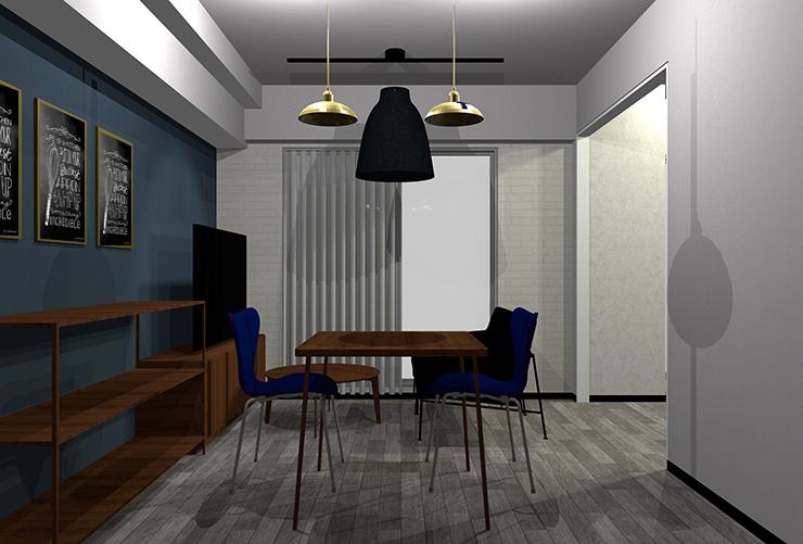 少し明るいグレーの床と茶色の家具