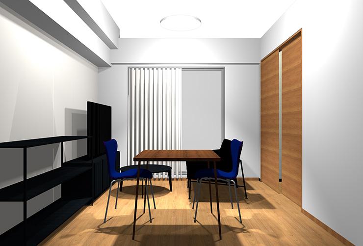 内装色をそのままにヴィンテージ家具をレイアウト