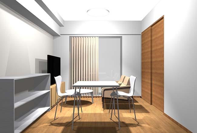 白い壁と白っぽい家具の部屋