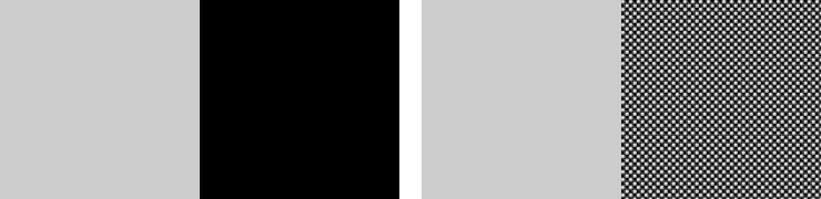 無地のグレー×黒と無地のグレー×パターン柄の黒