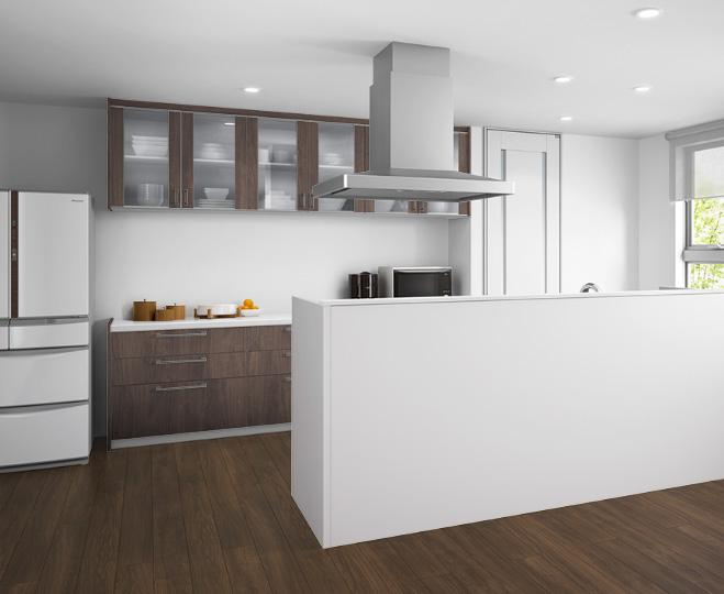 造作壁で対面キッチンをデザイン