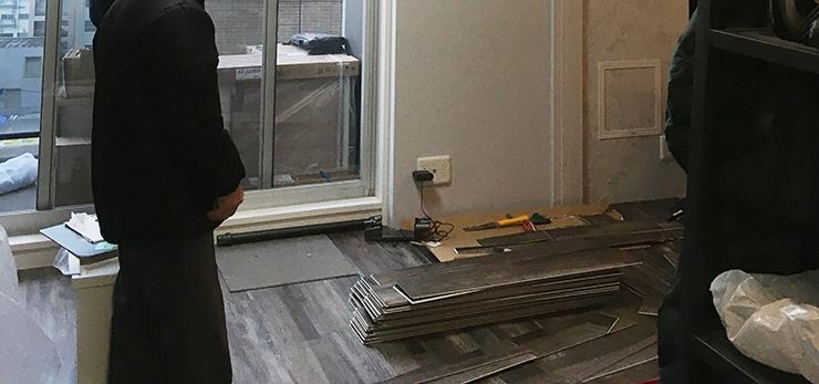 床暖房対応はめ込み式フロアタイル施工写真④