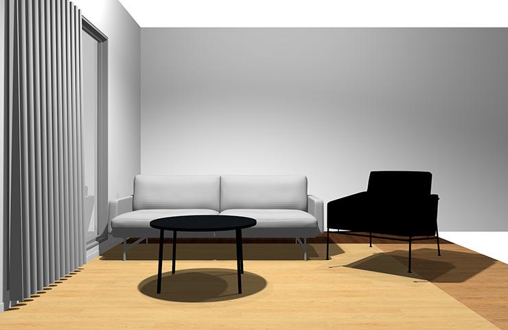 2人掛けソファ+1人掛けソファと丸型リビングテーブル(正面から)