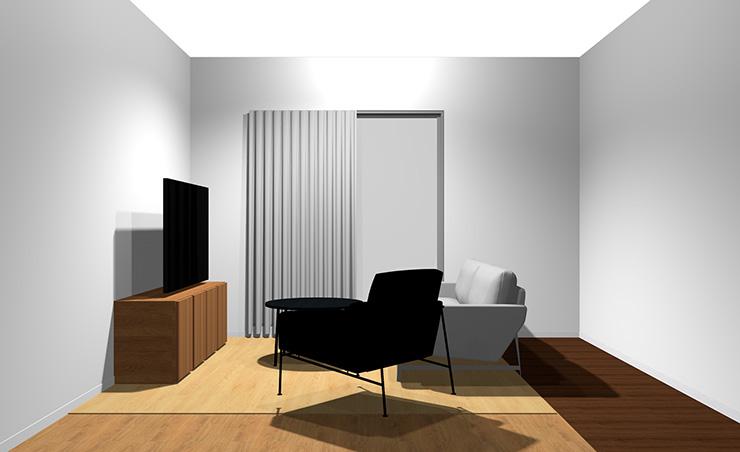 2人掛けソファ+1人掛けソファと丸型リビングテーブル(横から)