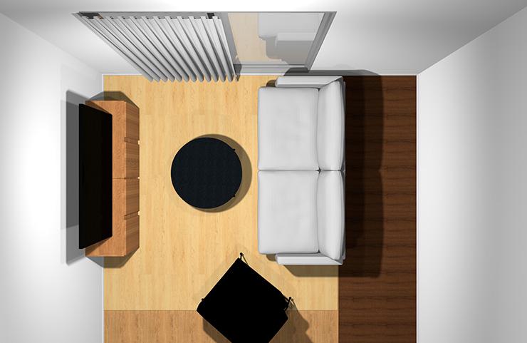 2人掛けソファ+1人掛けソファと丸型リビングテーブル(前から)