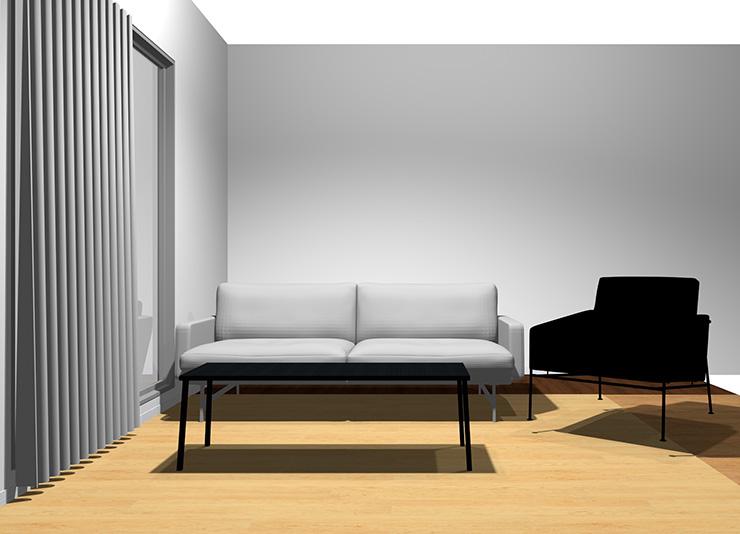 2人掛けソファ+1人掛けソファと長方形リビングテーブル1台(正面から)