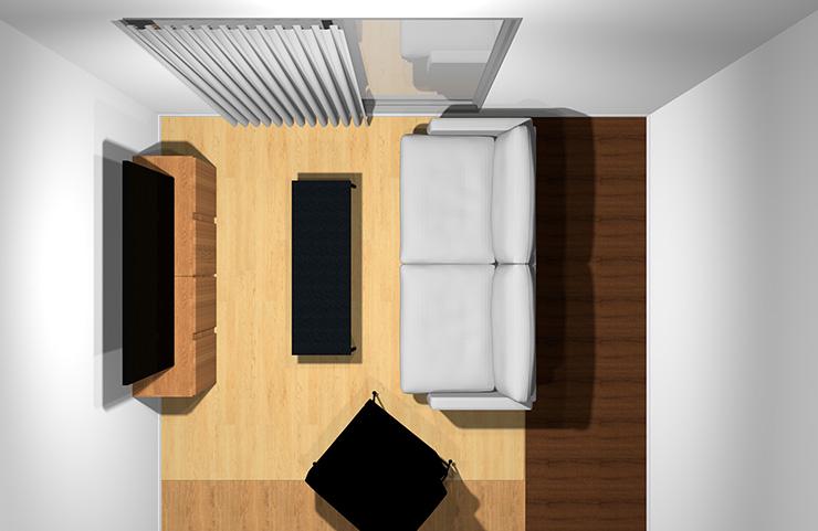 2人掛けソファ+1人掛けソファと長方形リビングテーブル1台(上から)