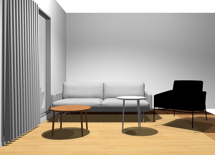 2人掛けソファ+1人掛けソファと丸型リビングテーブル2台(正面から)