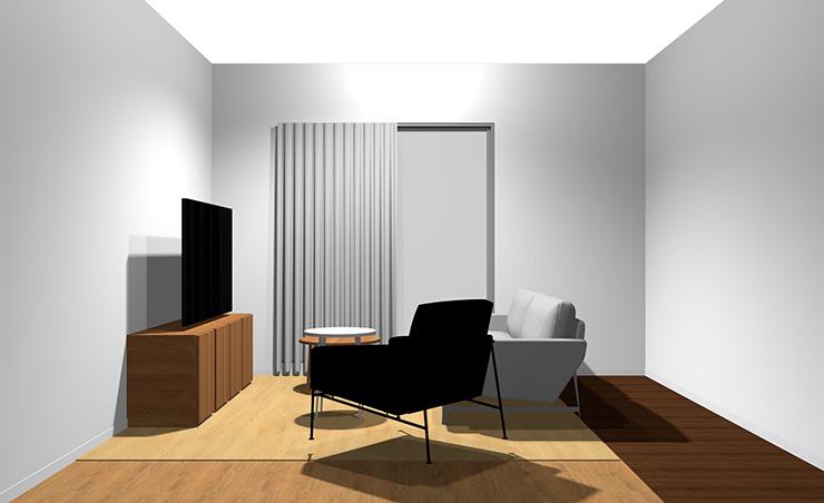 2人掛けソファ+1人掛けソファと丸型リビングテーブル2台(横から)