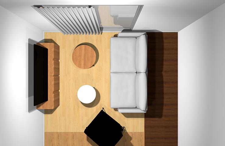 2人掛けソファ+1人掛けソファと丸型リビングテーブル2台(上から)
