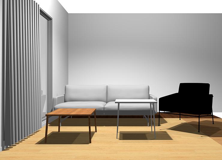 2人掛けソファ+1人掛けソファと長方形リビングテーブル2台(正面から)