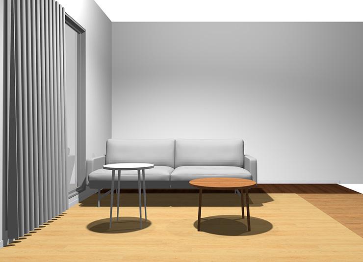 2人掛けソファと丸型リビングテーブル2台(正面から)