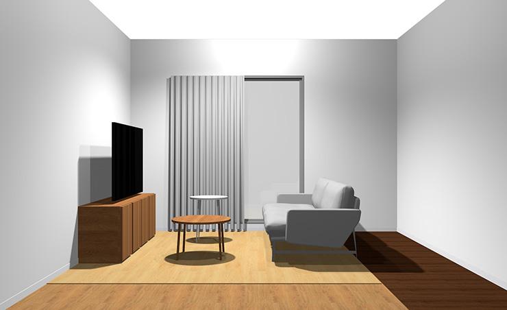 2人掛けソファと丸型リビングテーブル2台(横から)