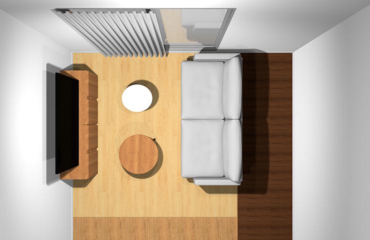 2人掛けソファと丸型リビングテーブル2台(上から)